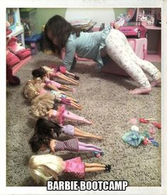 Barbie Bootcamp Practices Sex Positions - Drop and Give Me 20 Pushups Young Girls ---- hilarious jokes funny pictures walmart humor fails
