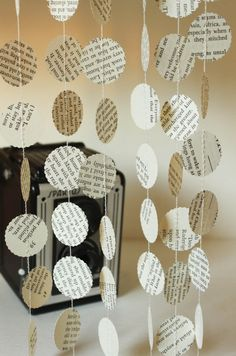 Book Page Garland Storybook Wedding Decorations by smileywileys, $6.00 ... Turn this into a mobile?