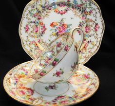 Dresden ROSE GARLAND BUDS Eccentric Tea cup and saucer Teacup Trio