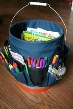 Tool Belt and Bucket to Organize Craft Supplies | Organize; Awesome Idea for outdoor crafts, or indoor art caddy.