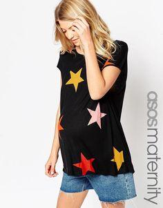 ASOS Maternity | ASOS Maternity T-Shirt In Slouchy Rib With Star Print at ASOS