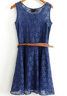 Navy Sleeveless Lace Overlay Skater Dress