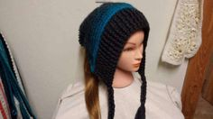 Check out this item in my Etsy shop https://www.etsy.com/listing/502292732/slouchy-hat-with-braids-and-pom-pom