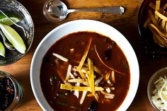 Rick Bayless' Tortilla Soup with Shredded Chard. Love Rick Bayless.