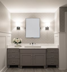 guest bathroom - gray vanity small mirror with two sconces patterned wallpaper Upstairs Bathrooms, Grey Bathrooms, Bathroom Renos, Laundry In Bathroom, Beautiful Bathrooms, Bathroom Gray, Bathroom Ideas, Bathroom Cabinets, Gray Cabinets