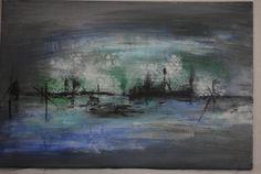 Hafen abstrakes Acrylbild von KunstPunktKunst auf Etsy
