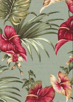 30lina Tropical Hawaiian orchid & anthurium flowers, cotton non-upholstery barkcloth fabric.