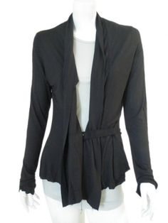 Open jacket with band. Jacket fastened with inside band with hook, rawcutted borders. Sale price $186.00