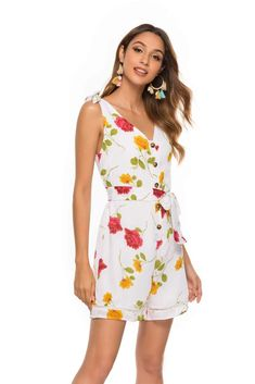 Fashion Print Lacing V neck Jumpsuits – ebuytrends Jumpsuit Outfit, Casual Jumpsuit, Floral Jumpsuit, Long Jumpsuits, Jumpsuits For Women, One Piece For Women, Fashion Prints, Bell Bottoms, V Neck