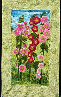 an apliqued art quilt hollyhocks mounted painting style in spring green and pink. $260.00, via Etsy.