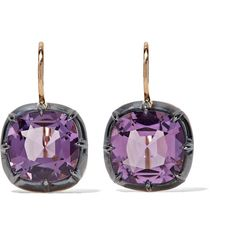 Fred Leighton Collection 18-karat gold amethyst earrings ($1,985) ❤ liked on Polyvore featuring jewelry, earrings, amethyst earrings, holiday earrings, evening earrings, 14k jewelry and cocktail jewelry