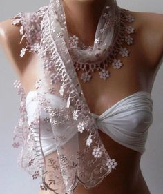 Light Pink  Elegance  Shawl / Scarf with Lacy Edge by womann, $19.00
