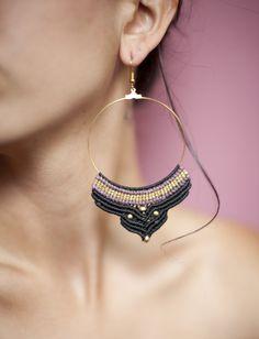 Macrame earrings Tribal jewelry Electric gypsies by stoneagetale, $25.00