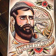 Troubled Waters tattoo flash