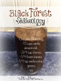 Try this Black Forest Shakeology! Just like the chocolate cherry ice cream, but tinted with vanilla and LOADED with nutrition and superfoods! Such a delicious green protein smoothie! Follow me on Facebook.com/thefitandfreemama for a new recipe every Thirsty Thursday!