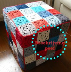 covered IKEA ottoman granny pattern (in Dutch, but with a chart) – Granny Square Pouf En Crochet, Crochet Motifs, Crochet Cushions, Manta Crochet, Crochet Blocks, Crochet Squares, Love Crochet, Crochet Granny, Diy Crochet