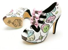 Cupcake Rockabilly Shoes with pink bows.