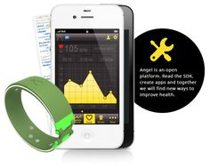 Angel wristband - open source sensor and platform. Tracks movement and activity, heart rate, temperature, sleep, calories. Syncs with smartphone via Bluetooth LE