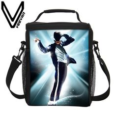 VEEVANV Brand 2017 Michael Jackson Lunch Bags 3D Printing Lunch Box Children Picnic Lancheira Termica Lunch Box Students Kid Bag