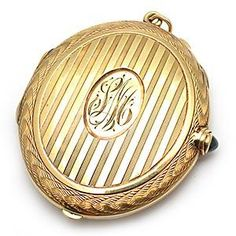 Antique Ornate Solid 14k Yellow Gold Compact With Blue Sapphire - EraGem