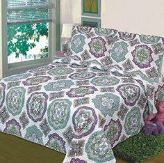 Fancy Collection 3 Pc Bedspread Bed Cover White Green Purple Floral (Queen) Fancy Linen http://www.amazon.com/dp/B00O4LBUH8/ref=cm_sw_r_pi_dp_qkJGub0HMYAPF