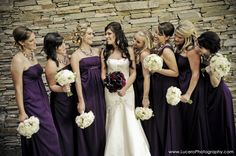 dark bouquet, but plum for the Bride and those bouquets for the bridesmaids! Purple Wedding, Chic Wedding, Wedding Trends, Perfect Wedding, Fall Wedding, Dream Wedding, Wedding Stuff, Wedding Ideas, Wedding Party Dresses
