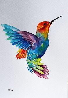 Original Watercolor Painting, Flying Rainbow Hummingbird, Colorful Bird Art 6x8 #artpainting Watercolor Hummingbird, Hummingbird Art, Easy Watercolor, Birds Painting Watercolor, Hummingbird Illustration, Watercolor Pictures, Bird Drawings, Flying Bird Drawing, Rainbow Drawing