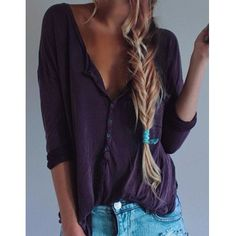 Stylish Plunging Neck Solid Color Long Sleeve T-Shirt For Women (PURPLE,S) in Long Sleeves | DressLily.com