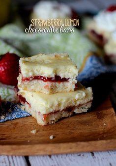 Strawberry Lemon Cheesecake Bars; fourth of july!
