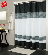 Modern Designed Shower Curtain Grey/White/Black 70x72 Tub Bathroom Decor Home