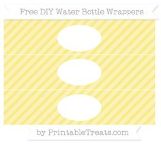 Pastel Yellow Diagonal Striped  DIY Water Bottle Wrappers