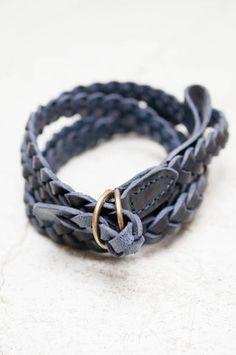 Blue Narrow Braid Belt