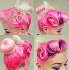 Pink hair rockabilly hair