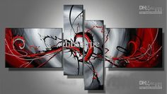 Wholesale hand-painted oil wall art The Red passion Abstract oil-paintings on canvas /set mixorde Framed, Free shipping, $38.34-45.58/Set | DHgate