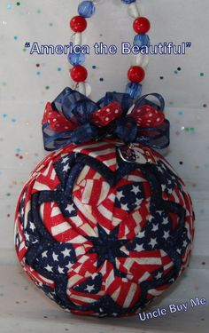 Quilted Ornaments Quilt Ball Ornaments Red White Blue Stars Stripes Flags with Matching USA Charm and Beaded Hanger