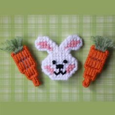 "Plastic Canvas: Benjamin and His Carrots Magnets (set of 3 -- 1 bunny and 2 carrots) -- ""Ready, Set, Sew!"" by Evie"