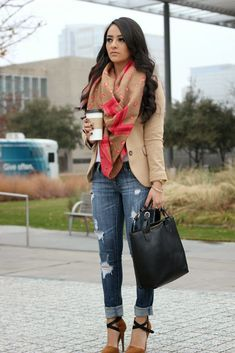 Perfect fall outfit! Holey jeans cuffed, camel color blazer with scarf