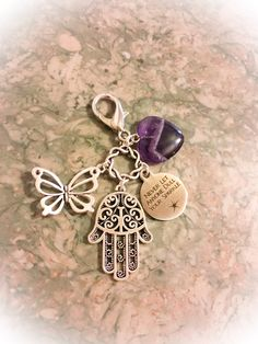 Amethyst Heart Crystals, Pretty Butterfly, Hamsa Hand, Never Let Anyone Dull Your Sparkle PurseClip w/ FREE Bag & Angel Message Card. by WingsAndThingsbyAlex on Etsy