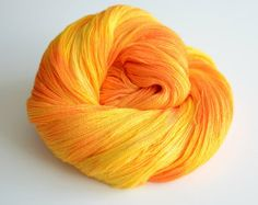 Hand Dyed Lace Yarn - 875 Yards Superfine Merino and Silk - Apollo - Fiery Yellow and Burnt Orange