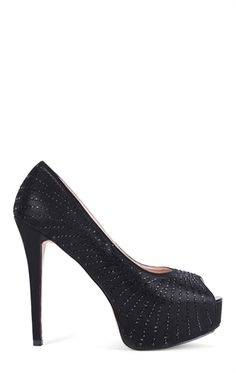 Deb Shops Peep Toe Platform Pumps with Striped Stone Embellishment $46.00