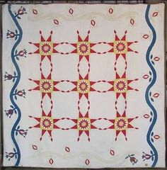 Early! Antique Pomegranate & Stars Red Yellow Blue QUILT civil war 1860 applique