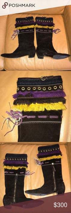"""Miu Miu Suede Boots Excellent condition. Interior zip. Brown suede with gold/yellow, brown and purple fringe.Brass grommets. Leather strap with brass buckle on top. Purple suede """"ribbon"""" below fringe layer. Beautiful and fun boots! Made in Italy. Miu Miu Shoes Heeled Boots"""