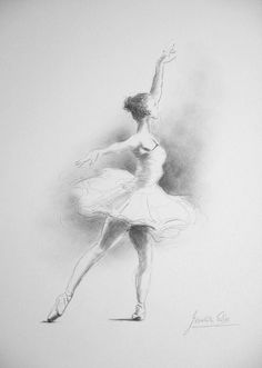 ORIGINAL pencil drawing 12 x 8 on WHITE paper by DanceArtGallery