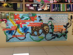 Our South America Rain Forest board. The kids worked in groups to make the critters and then we wrote a couple of facts about each.