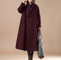 Winter Retro Woolen A-Coat Red