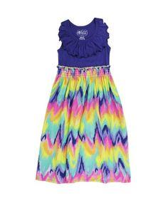 RuffleButts Rainbow Wave Maxi Dress | www.RuffleButts.com