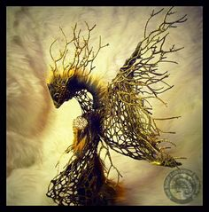 SOLD HAND MADE Fantasy Forest Guardian Phoenix by Wood-Splitter-Lee