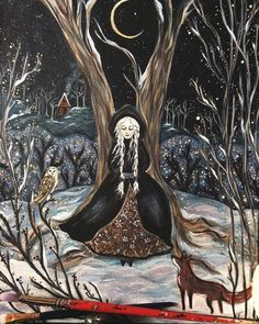 A Winter's Tale - This is a high quality print with a small white border. I comes titled and signed by the - Art And Illustration, Fantasy Kunst, Fantasy Art, Winter's Tale, Witch Art, Witch Aesthetic, Arte Popular, Woodland Creatures, Whimsical Art
