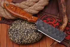 Handmade Chef Knife, Handmade Knives, Forged Knife, Damascus Knife, Unique Knives, Bushcraft Knives, Cool Tools, Custom Leather, Leather Tooling