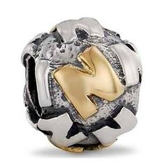 Pandora Letter N Charm 14k Gold and Sterling Silver